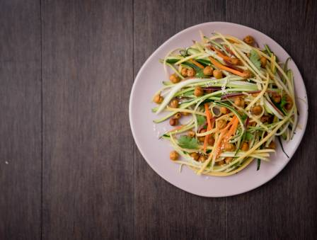 Spiralized Vegetable Salad with Maple Apple Dressing and Chickpea Croutons
